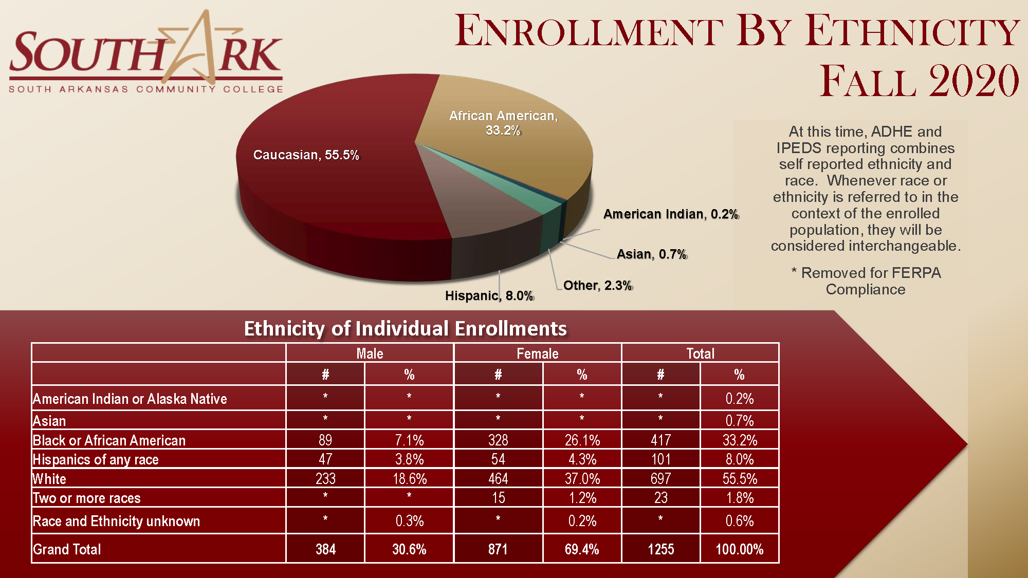 Enrollment by Ethnicity Fall 2020